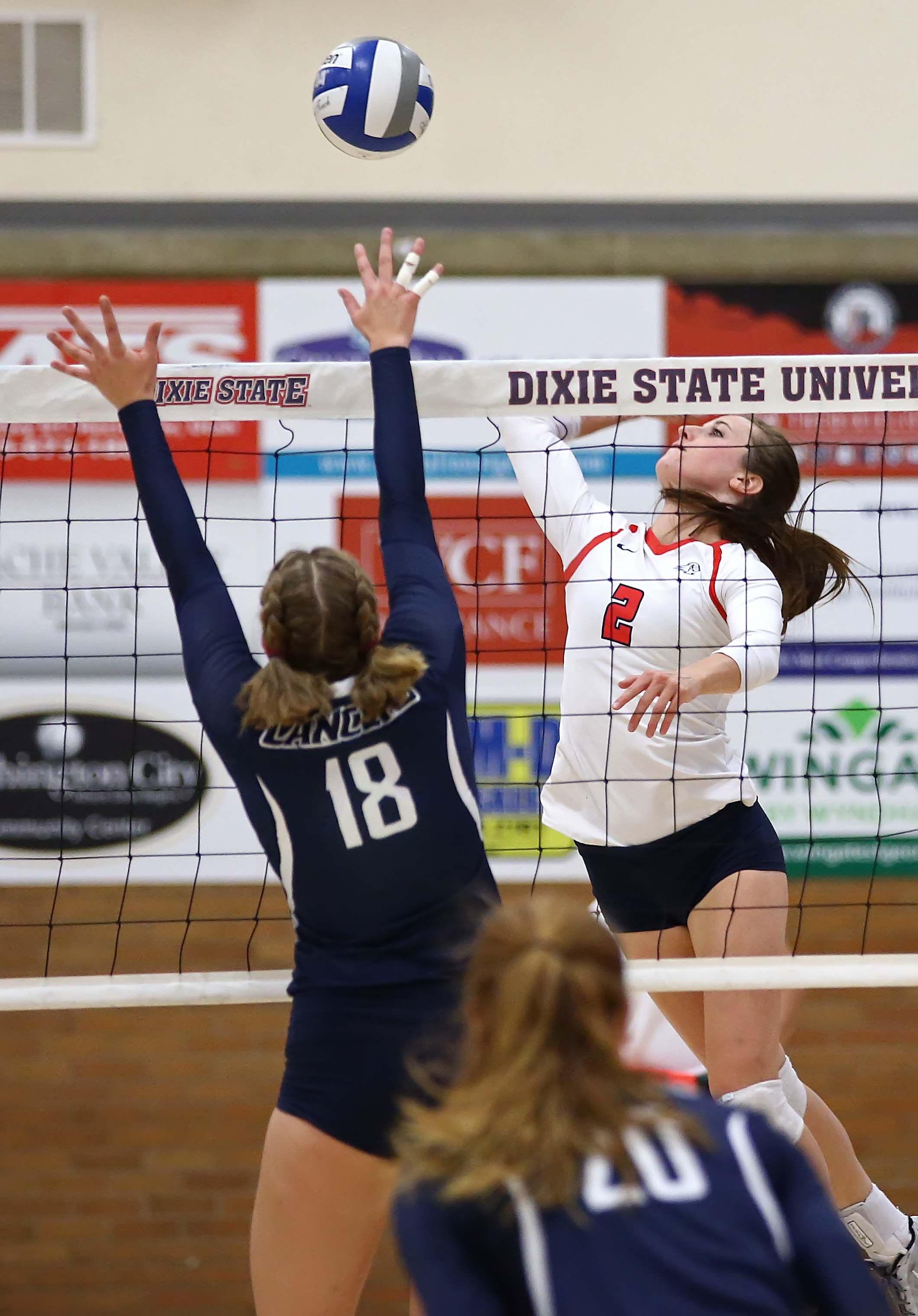 Dixie State's Delayne Daniel (2), Dixie State University vs. California Baptist University, Volleyball, St. George, Utah, Oct. 22, 2016, | Photo by Robert Hoppie, ASPpix.com, St. George News