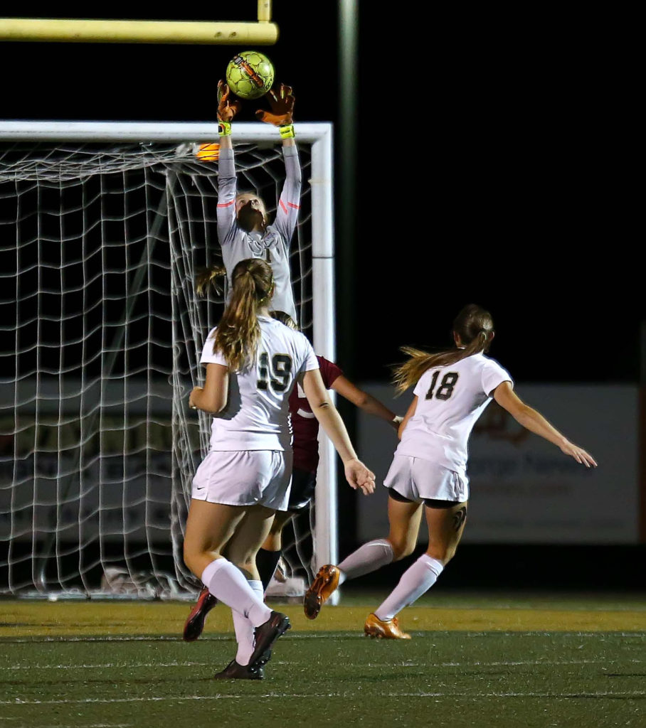 Desert Hills' Brittney Moore (1) makes a save, Desert Hills vs. Pine View, Soccer, St. George, Utah, Oct. 6, 2016, | Photo by Robert Hoppie, ASPpix.com, St. George News