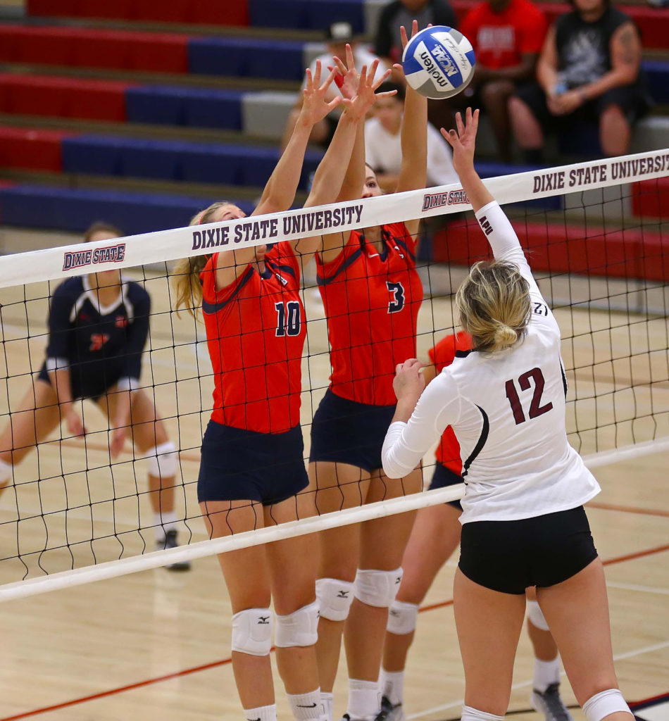 Dixie State University vs Azusa Pacific University, Volleyball, St. George, Utah, Oct. 8, 2016, | Photo by Robert Hoppie, ASPpix.com, St. George News