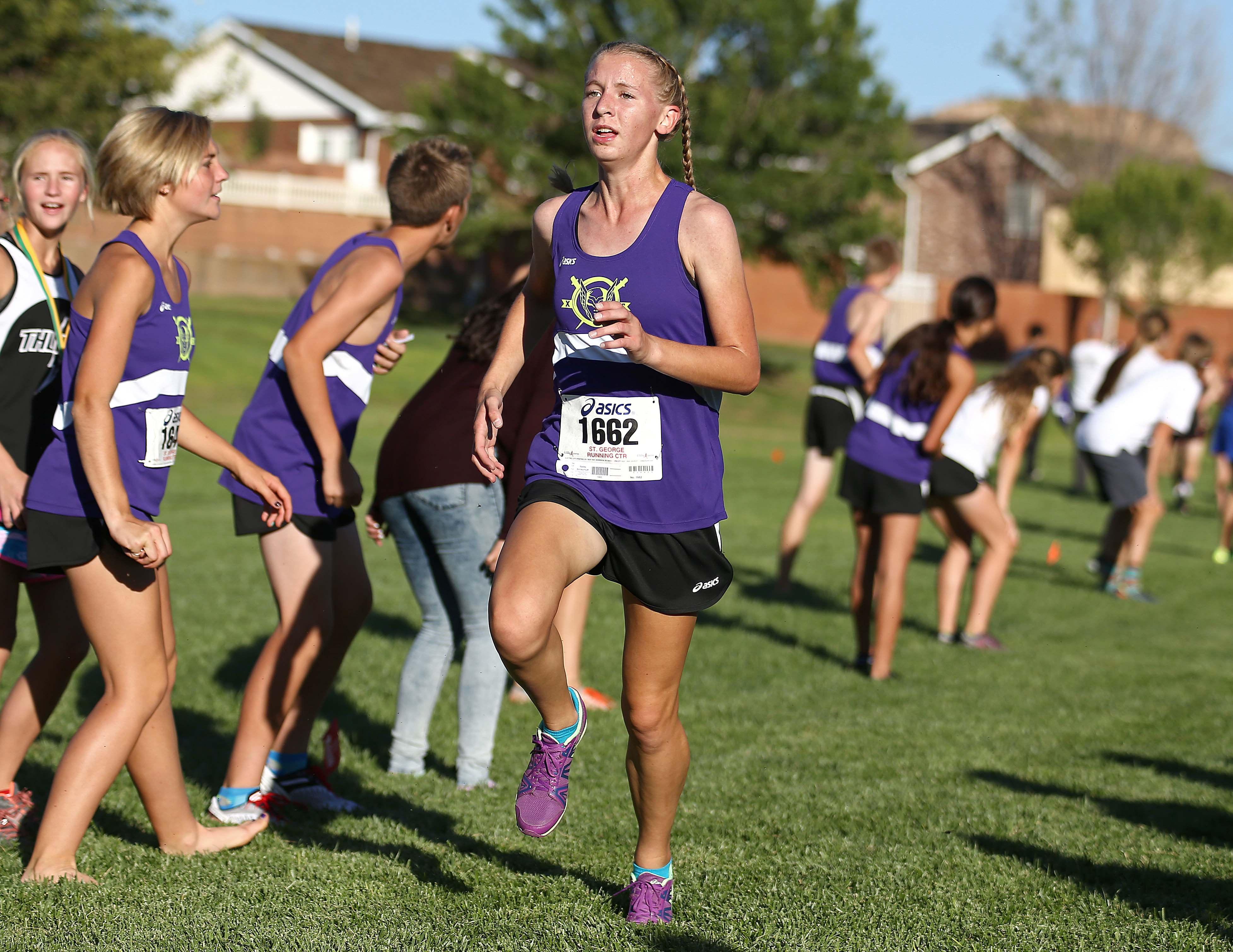 Desert Hills' Bailey Brinkerhoff wins the Girls Region 9 Cross Country Championship, St. George, Utah, Oct. 11, 2016,   Photo by Robert Hoppie, ASPpix.com, St. George News