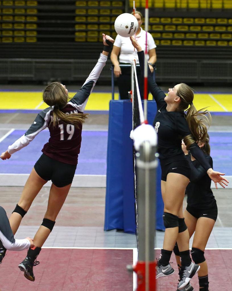 Desert Hills' Jessica Harris (8), Desert Hills vs. Morgan, 3A State Volleyball Championship Match, Orem, Utah, Oct. 27, 2016, | Photo by Robert Hoppie, ASPpix.com, St. George News