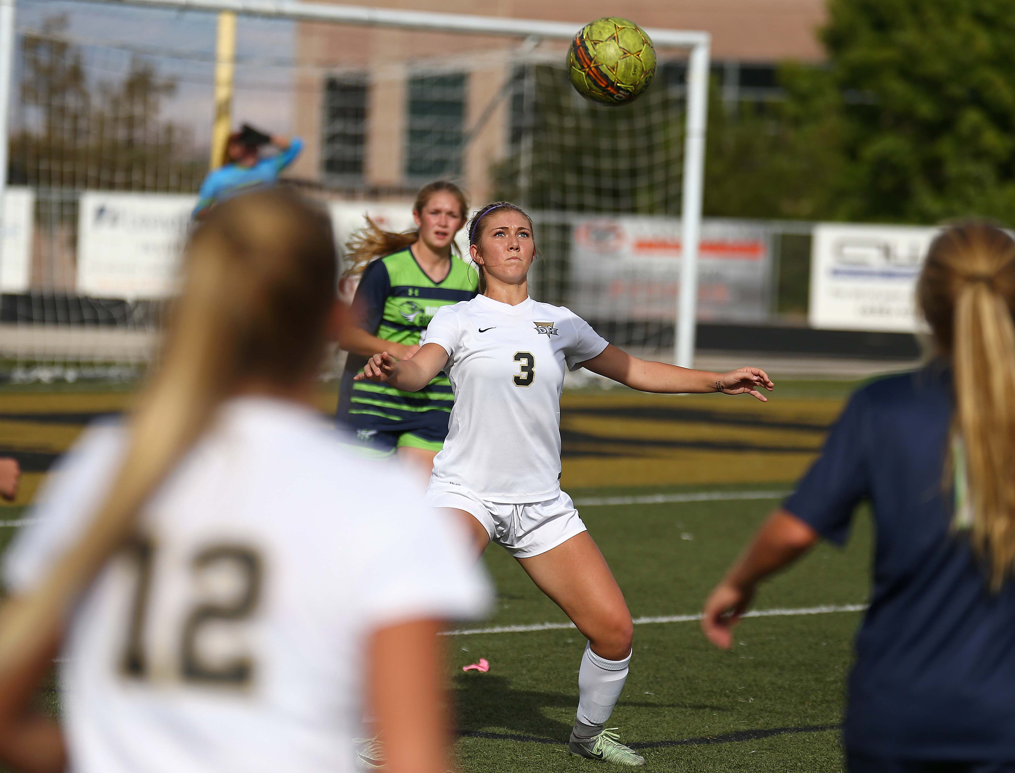 Desert Hills' Kodee Bracken (3), Desert Hills vs. Ridgeline, Girls Soccer 3A State Playoffs, St. George, Utah, Oct. 12, 2016, | Photo by Robert Hoppie, ASPpix.com, St. George News