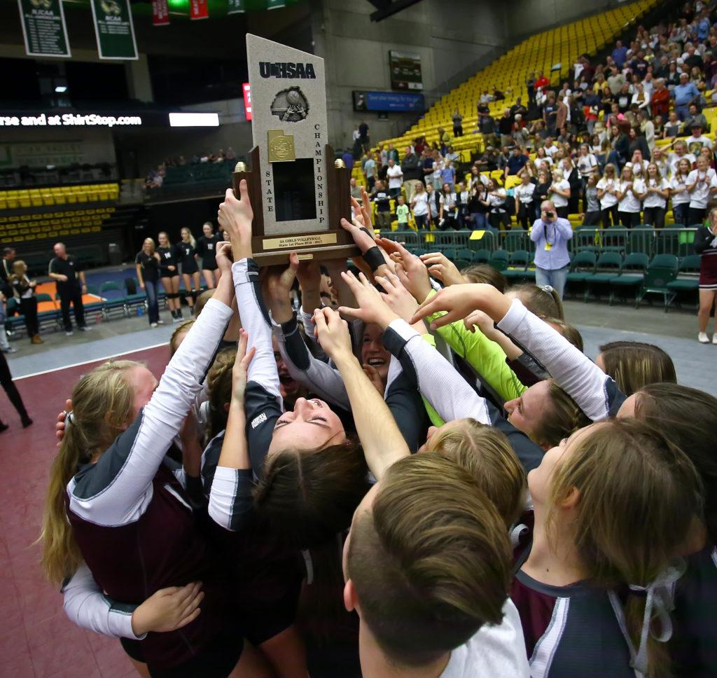 Morgan hoists the championship trophy, Desert Hills vs. Morgan, 3A State Volleyball Championship Match, Orem, Utah, Oct. 27, 2016,   Photo by Robert Hoppie, ASPpix.com, St. George News