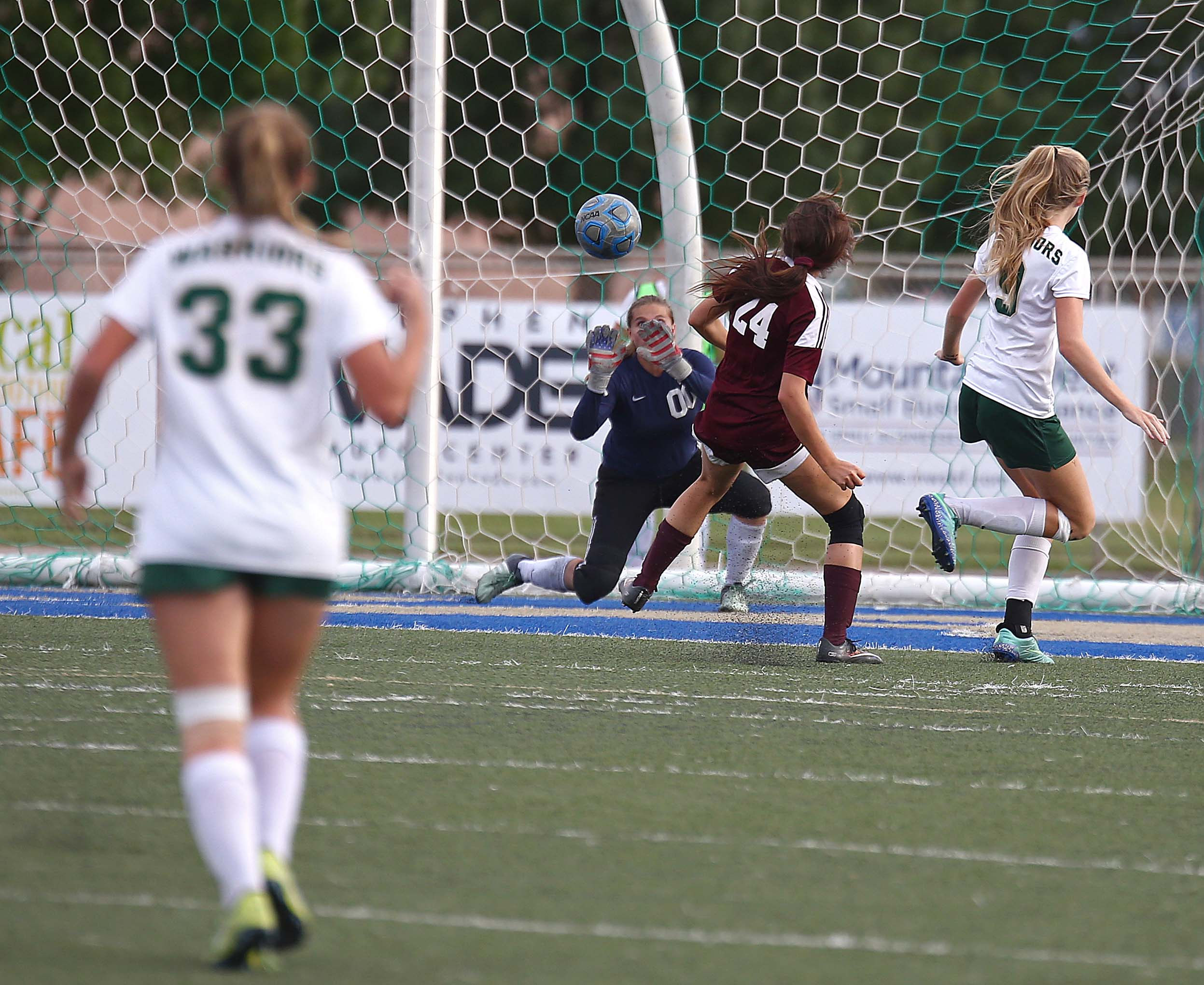 Snow Canyon's Megan Rodgers (00) makes a save, Snow Canyon vs. Morgan, Girls Soccer 3A State Playoffs, St. George, Utah, Oct. 12, 2016,   Photo by Robert Hoppie, ASPpix.com, St. George News