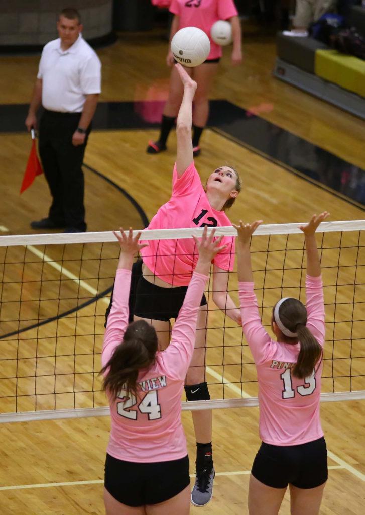 Desert Hills' Charity Bradley (12), Desert Hills vs. Pine View, Volleyball, St. George, Utah, Oct. 18, 2016, | Photo by Robert Hoppie, ASPpix.com, St. George News