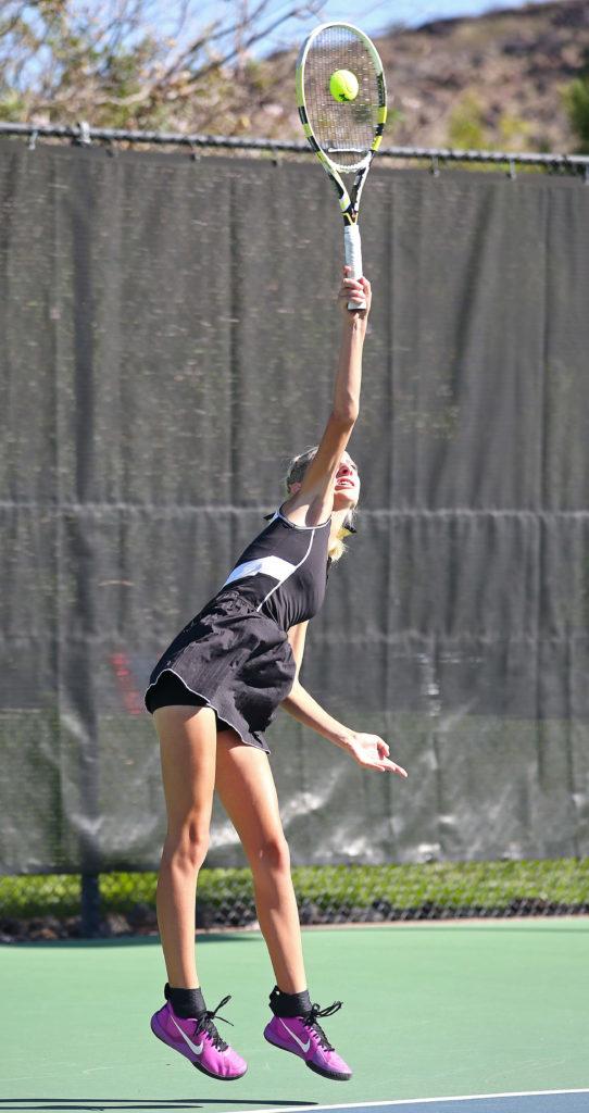 Desert Hills' Abbie Carmack, Region 9 Girls Tennis Tournament, St. George, Utah, Oct. 1, 2016, | Photo by Robert Hoppie, ASPpix.com, St. George News