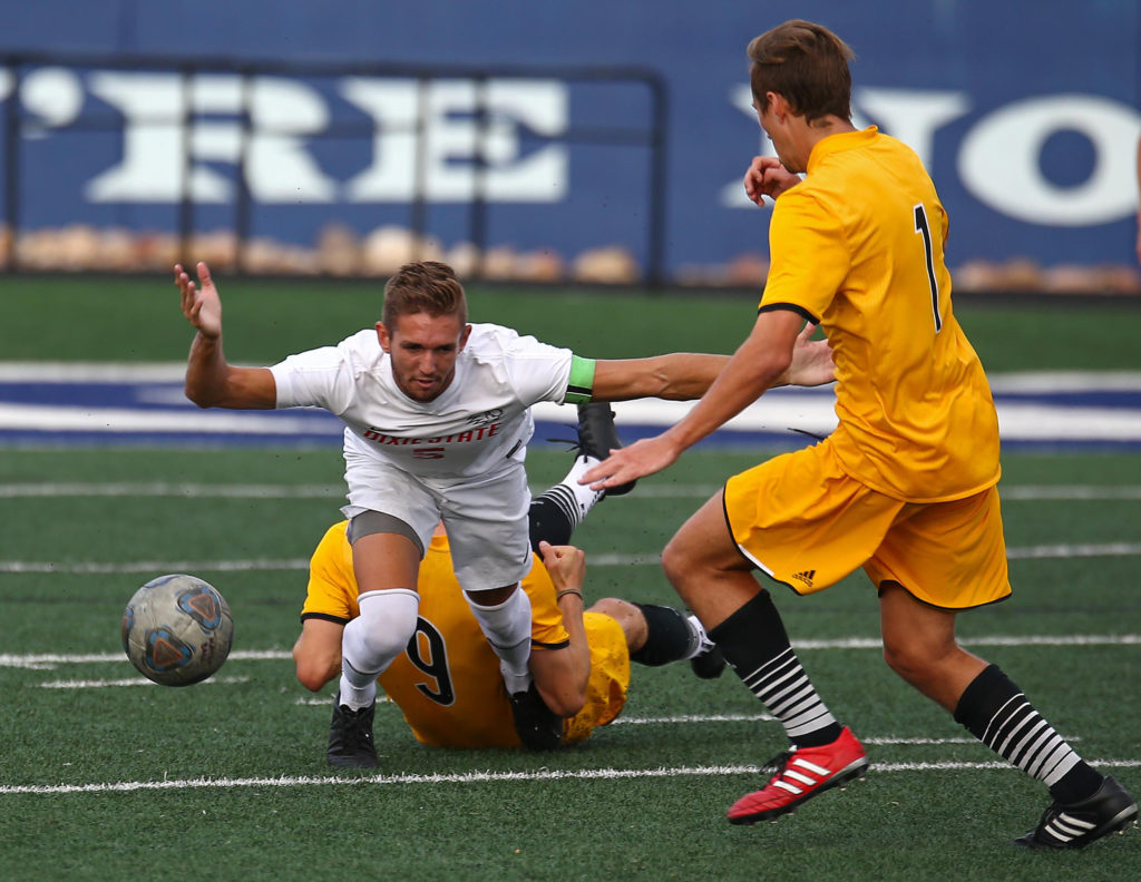 Dixie State's Bryan Baugh (5), Dixie State University vs. Dominican University, Men's Soccer, St. George, Utah, Oct. 29, 2016, | Photo by Robert Hoppie, ASPpix.com, St. George News