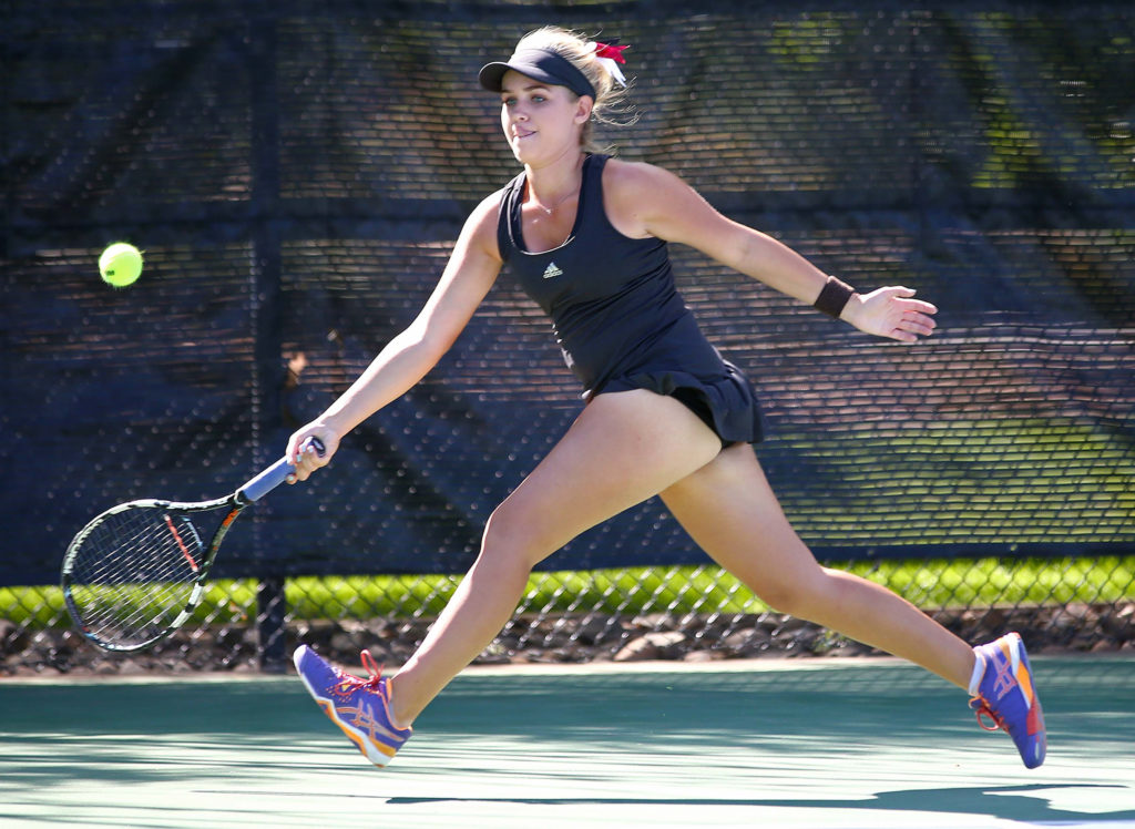 Pine View's Hattie Erekson, Region 9 Girls Tennis Tournament, St. George, Utah, Oct. 1, 2016, | Photo by Robert Hoppie, ASPpix.com, St. George News