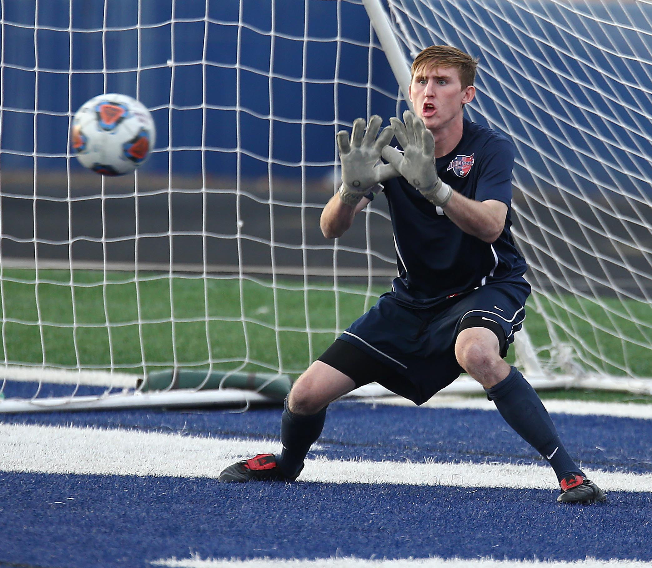 Dixie State's Bradley Trella (1) makes a save, Dixie State University vs. Dominican University, Mens Soccer, St. George, Utah, Oct. 29, 2016, | Photo by Robert Hoppie, ASPpix.com, St. George News