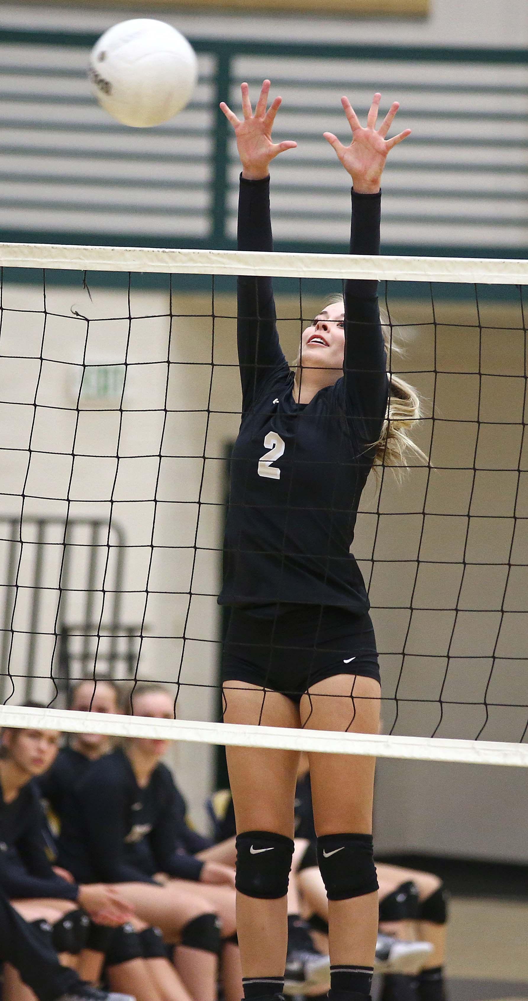 Desert Hills' Hailee Harmer (2), Snow Canyon vs. Desert Hills, Volleyball, St. George, Utah, Oct. 20, 2016, | Photo by Robert Hoppie, ASPpix.com, St. George News