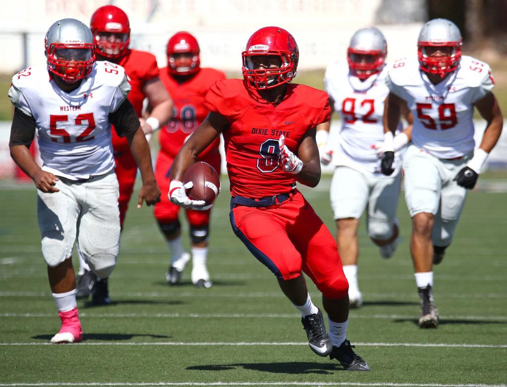 Dixie State's DeJon Coleman (9), Dixie State University vs. Western State Colorado University, Football , St. George, Utah, Oct. 1, 2016,   Photo by Robert Hoppie, ASPpix.com, St. George News