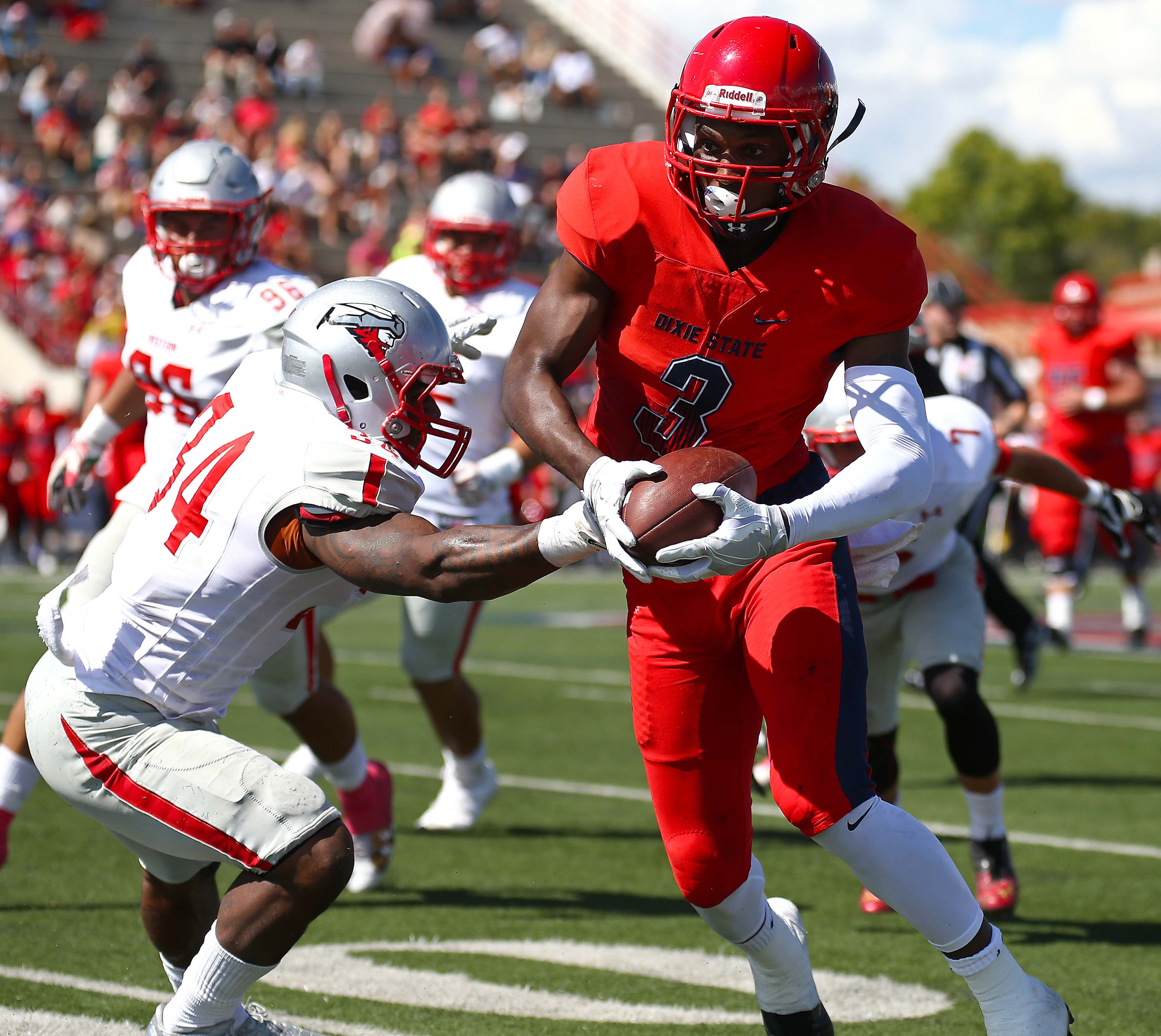 Dixie State's Aubrey Reed (3), file photo from Dixie State University vs. Western State Colorado University, Football , St. George, Utah, Oct. 1, 2016, | Photo by Robert Hoppie, ASPpix.com, St. George News