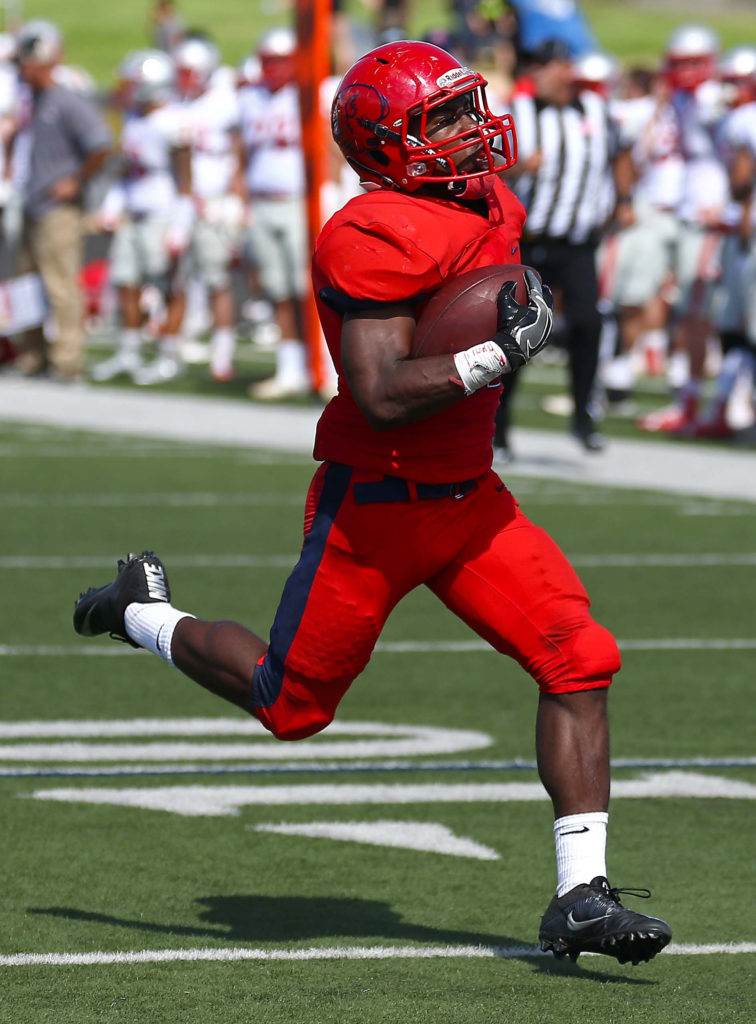 Clifford Simms (22) had a big game against Colorado Mesa, file photo from Dixie State University vs. Western State Colorado University, Football , St. George, Utah, Oct. 1, 2016, | Photo by Robert Hoppie, ASPpix.com, St. George News