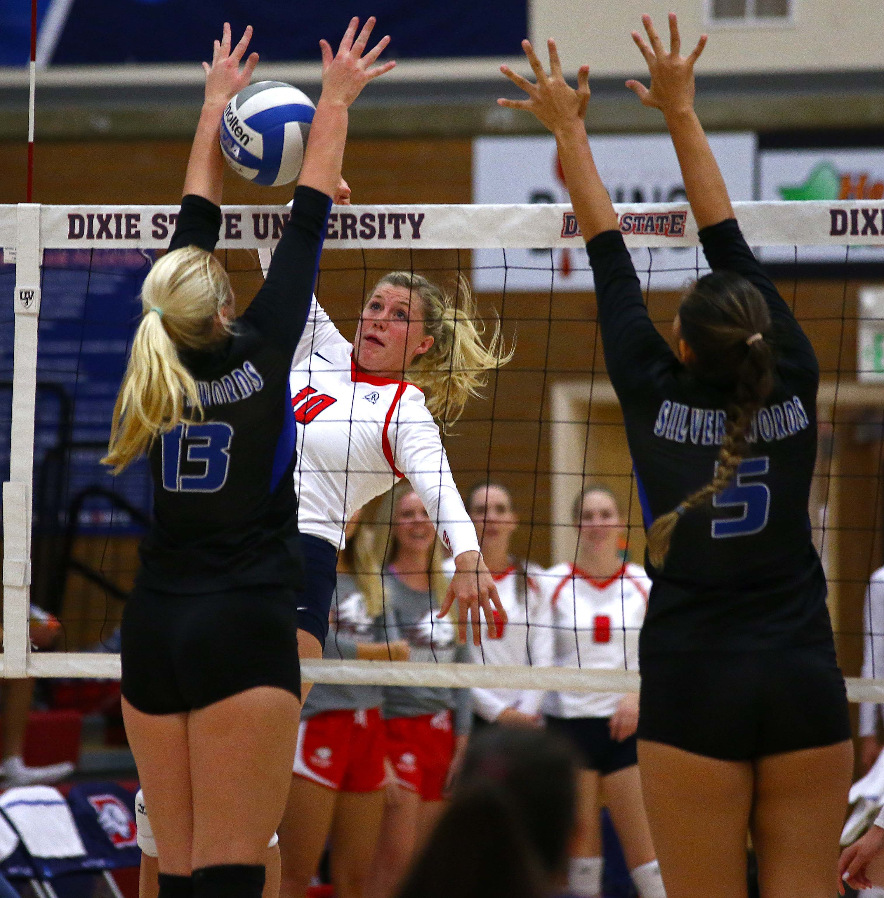 Dixie State's Brette Anderson (10), Dixie State University vs. Chaminade University, Volleyball, St. George, Utah, Oct. 1, 2016, | Photo by Robert Hoppie, ASPpix.com, St. George News