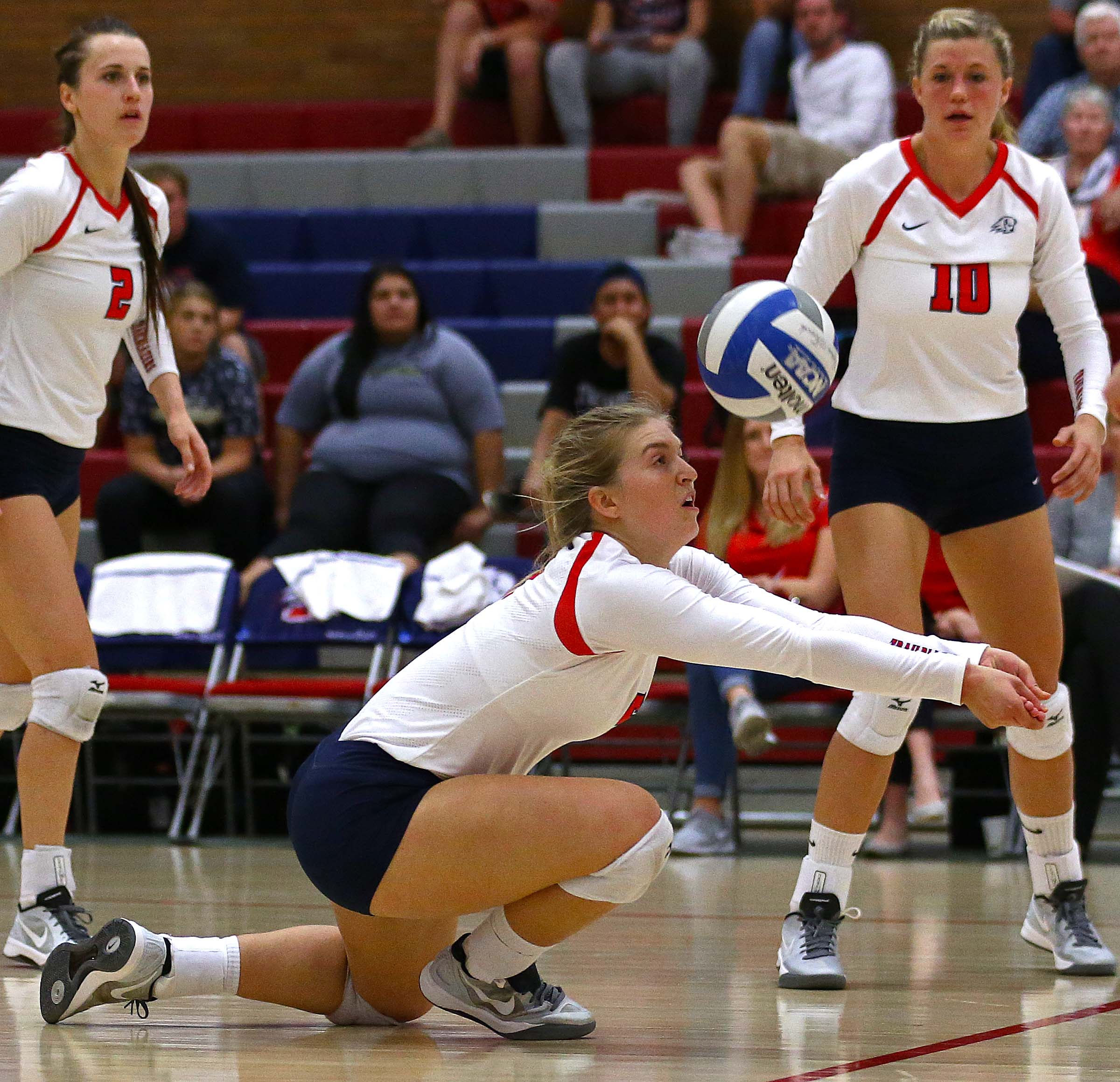 Dixie State's Jaclyn Condie (5), Dixie State University vs. Chaminade University, Volleyball, St. George, Utah, Oct. 1, 2016, | Photo by Robert Hoppie, ASPpix.com, St. George News