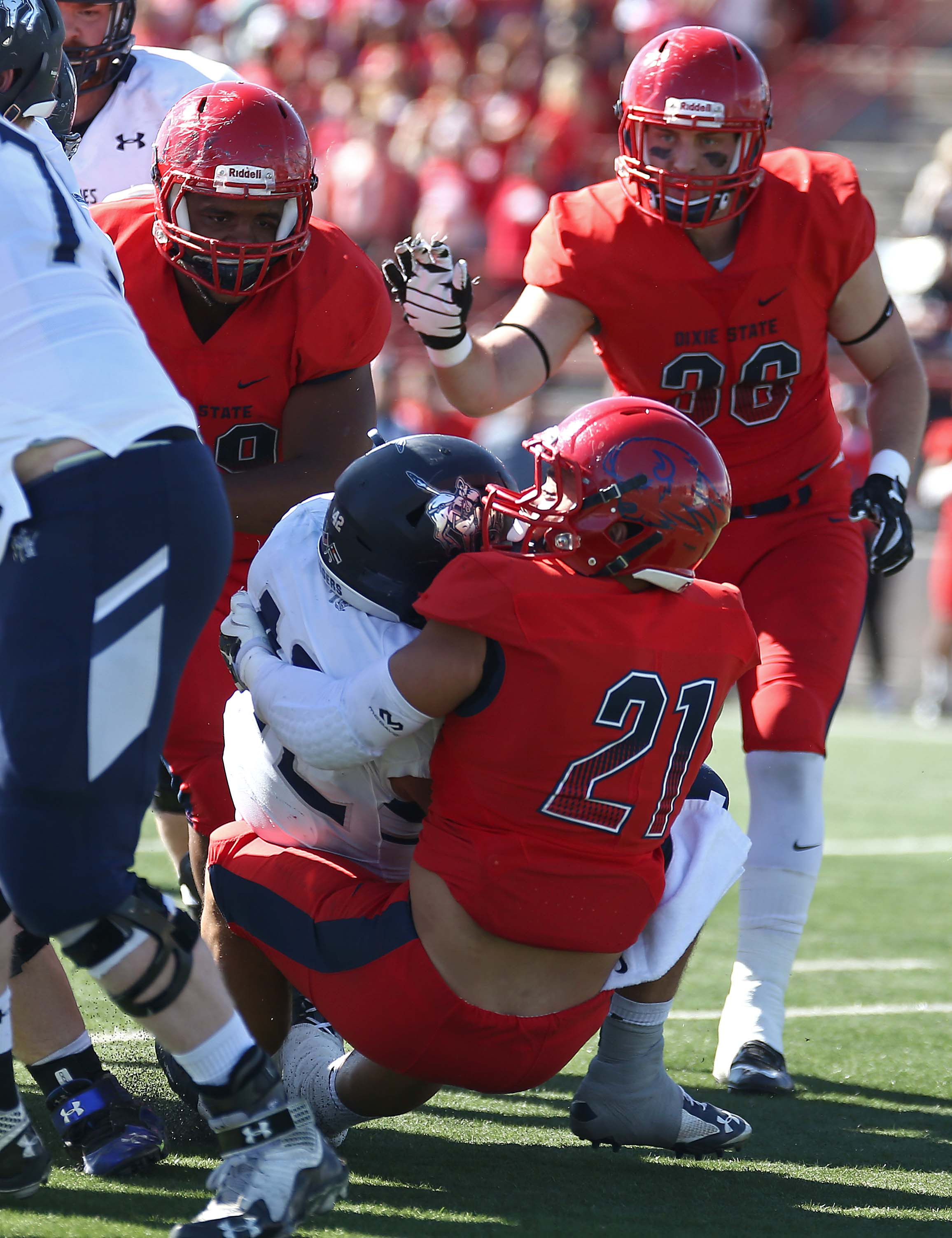 Dixie State's Peter Brown (21), Dixie State University vs. Colorado School of Mines, Football, St. George, Utah, Oct. 22, 2016, | Photo by Robert Hoppie, ASPpix.com, St. George News