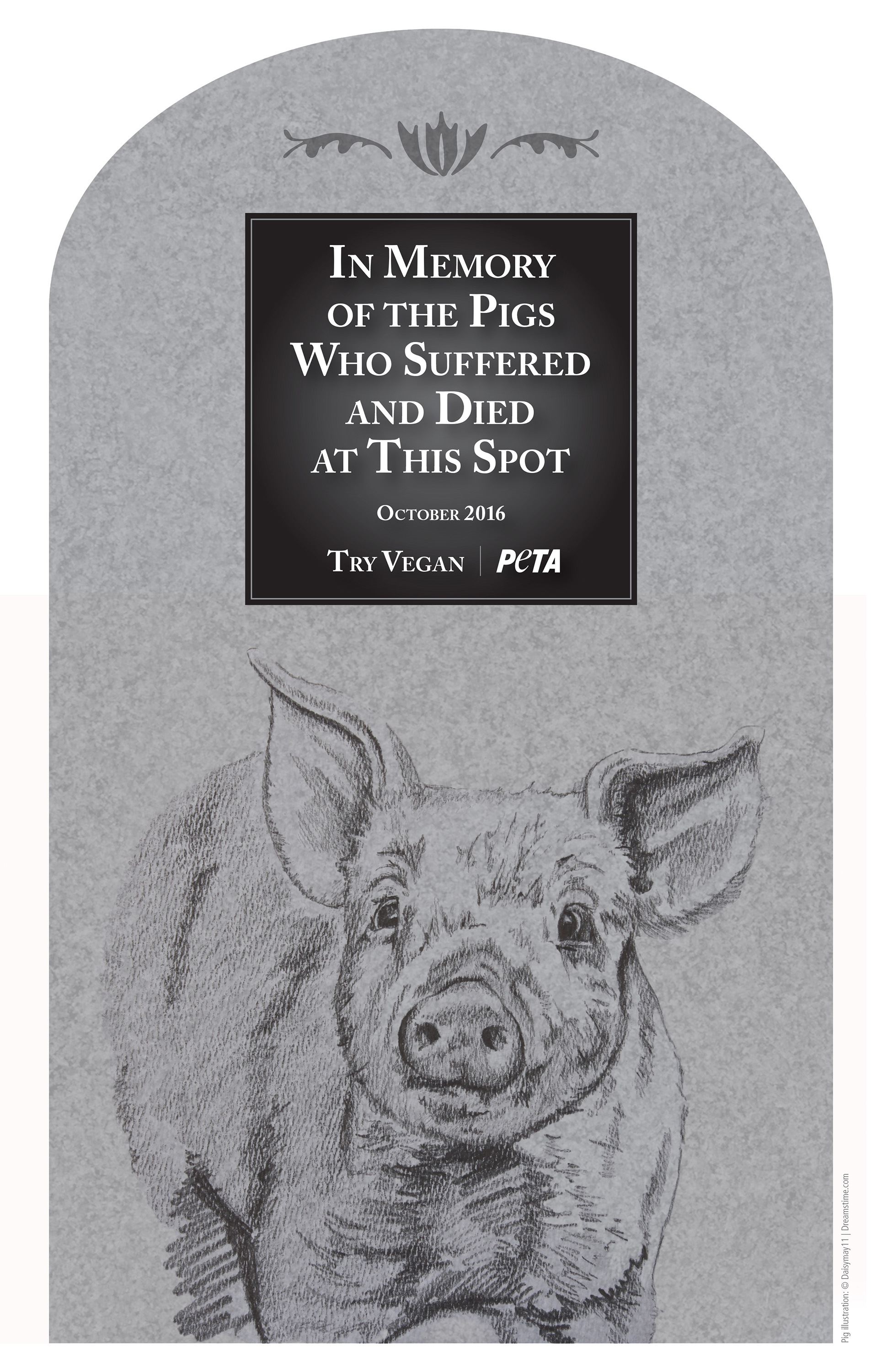 A proposed memorial for pigs that died in a crash in the Virgin River Gorge, Oct. 24, 2016 | Image courtesy of PETA, St. George News