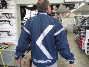 Arrowhere jacket with reflective striping and arrow shape. $89. October 1, 2016. Bicycles Unlimited, St. George | Photo by Kristine Crandall, St. George News