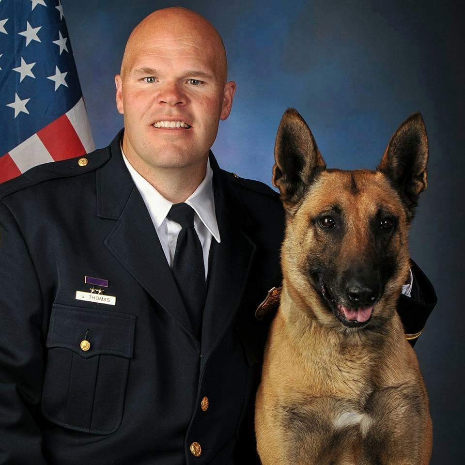 Cedar City Police Officer Jason Thomas poses with his K-9 partner Pajko. Cedar City, Utah | Photo courtesy of Jason Thomas, St. George / Cedar City News