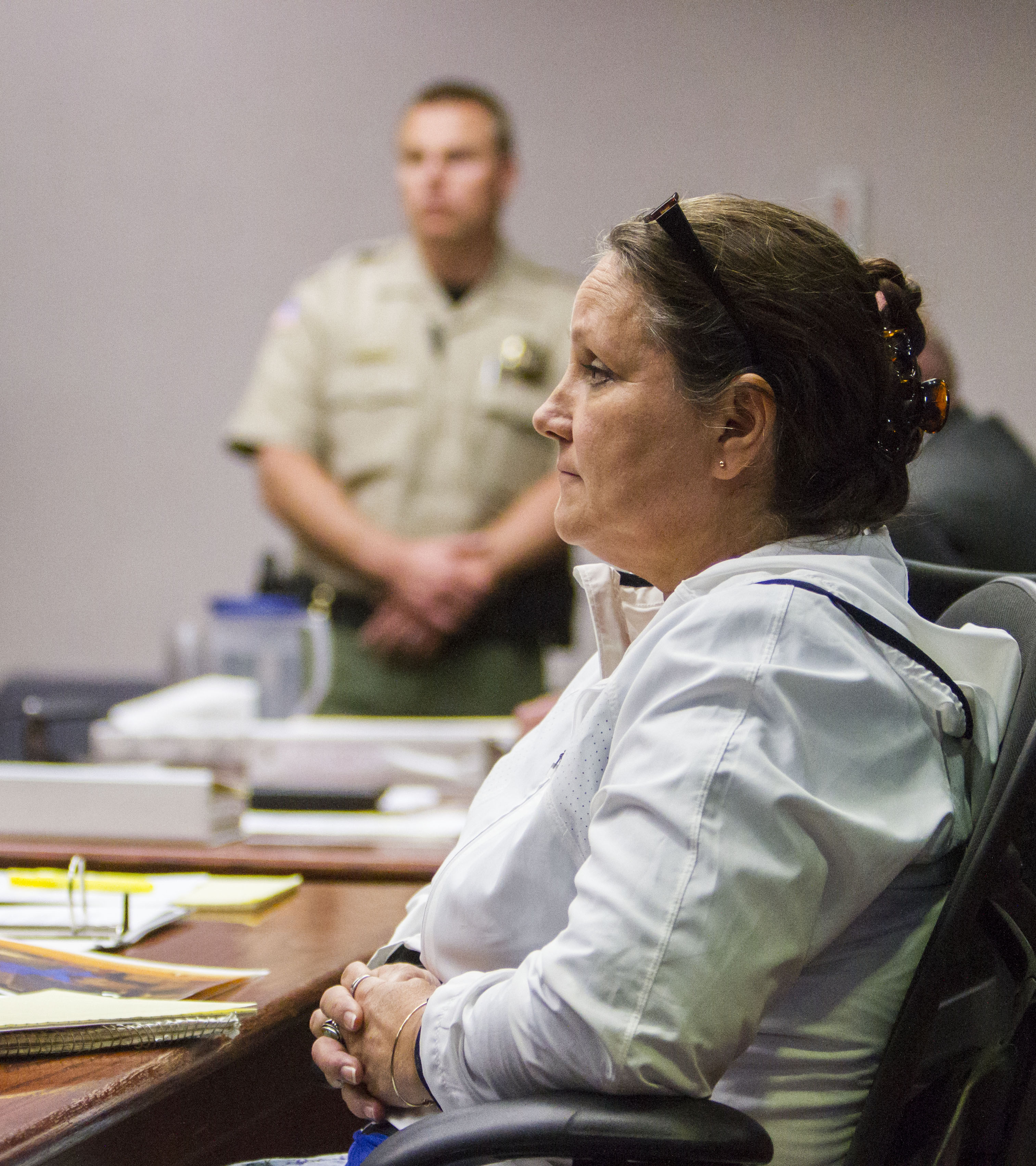 Vickie Sorensen listens to opening statements during the State of Utah v. Sorensen trial at the Fifth District Court in Cedar City, Utah, Oct. 19, 2016 | Photo by 5th District Court video pool, St. George / Cedar City News