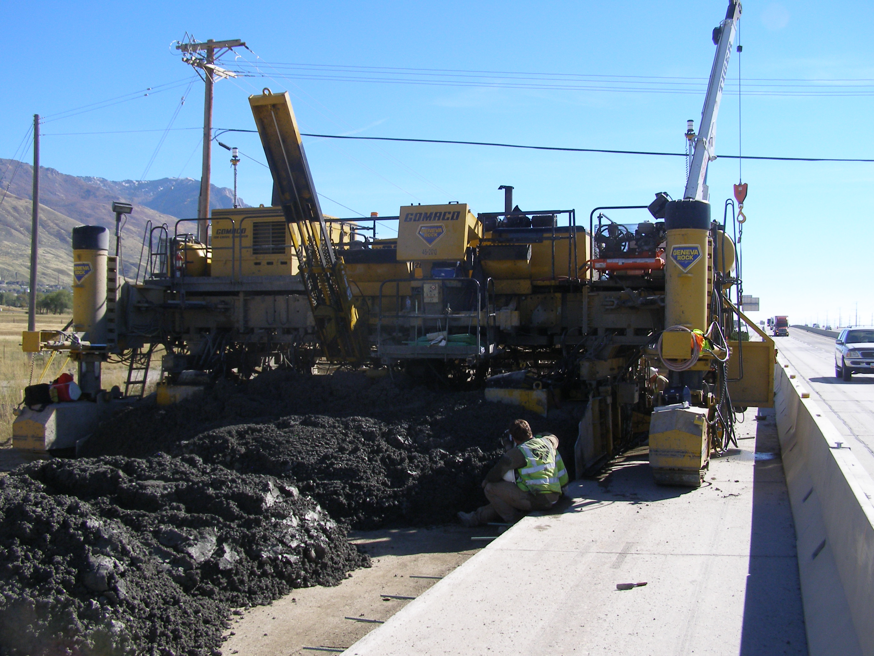 A construction worker was left in critical condition after getting caught in a concrete paver while working in an Interstate 15 construction zone near Exit 362, Box Elder County, Utah, Oct. 7, 2016 | Photo courtesy of Utah Highway Patrol, St. George News
