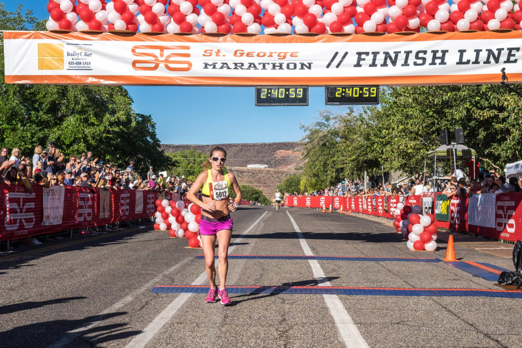 Lindsay Nelson finished in second place despite this being her very first marathon, the 2016 St. George Marathon Saturday morning, St. George, Utah, Oct. 1, 2016 | Photo by Dave Amodt, St. George News