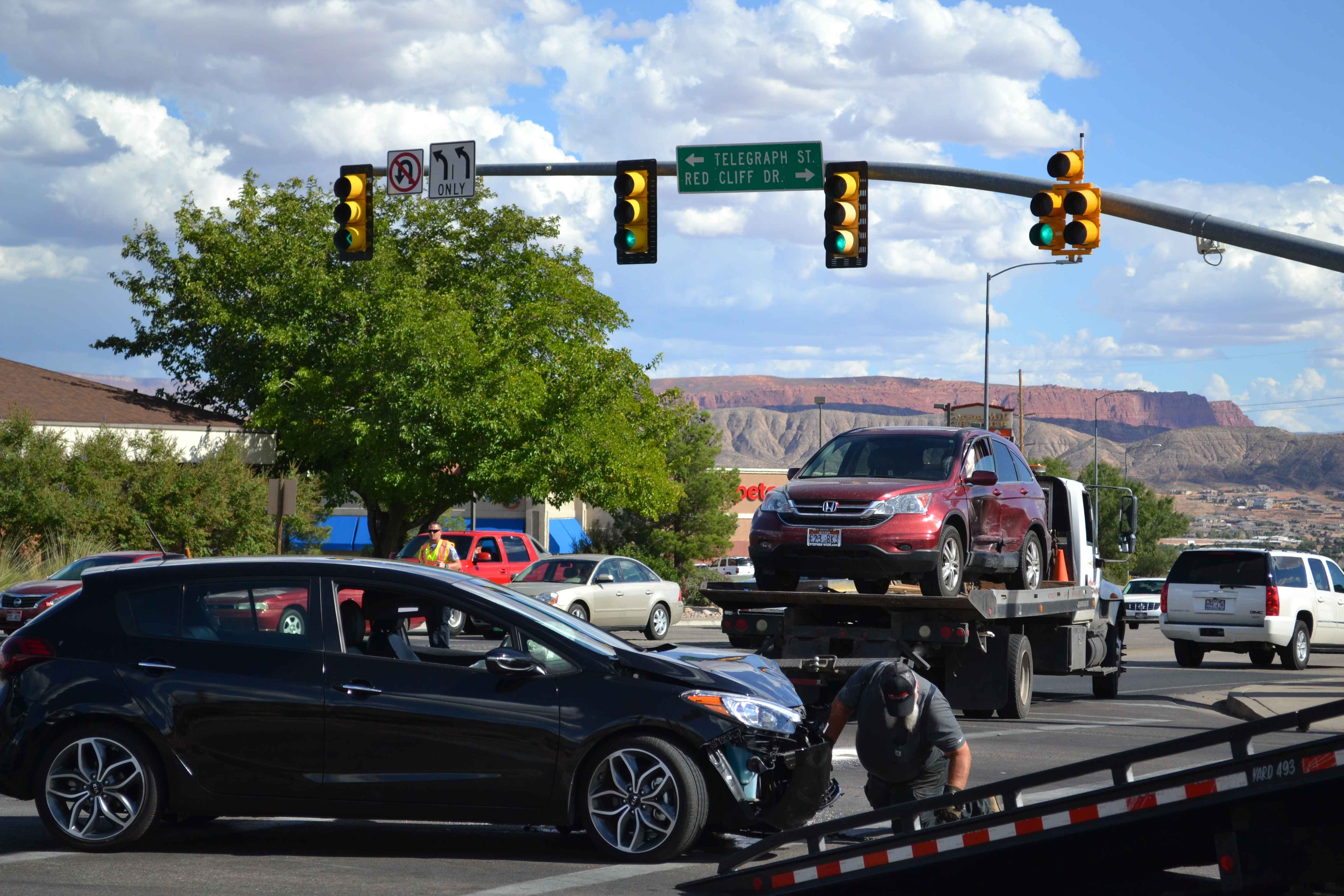 A man was transported to the hospital after a collision at the intersection of West Telegraph Street and South Green Springs Drive, Washington City, Utah, Oct. 1, 2016 | Photo by Joseph Witham, St. George News