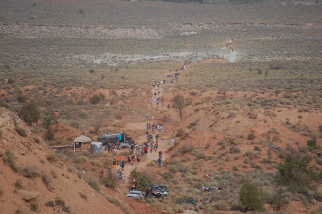 Spectators walk or ride bikes to the Red Bull Rampage course in Virgin, Utah, Oct. 14, 2016 | All licensed images are printed with the express permission of Red Bull Media House North America, Inc. Photo by Hollie Reina, St. George News