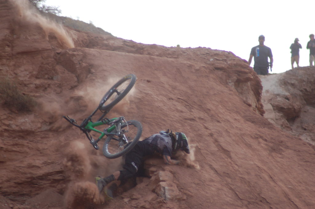 Rider Graham Agassiz crashes at Red Bull Rampage in Virgin, Utah, Oct. 14, 2016 | All licensed images are printed with the express permission of Red Bull Media House North America, Inc. Photo by Hollie Reina, St. George News