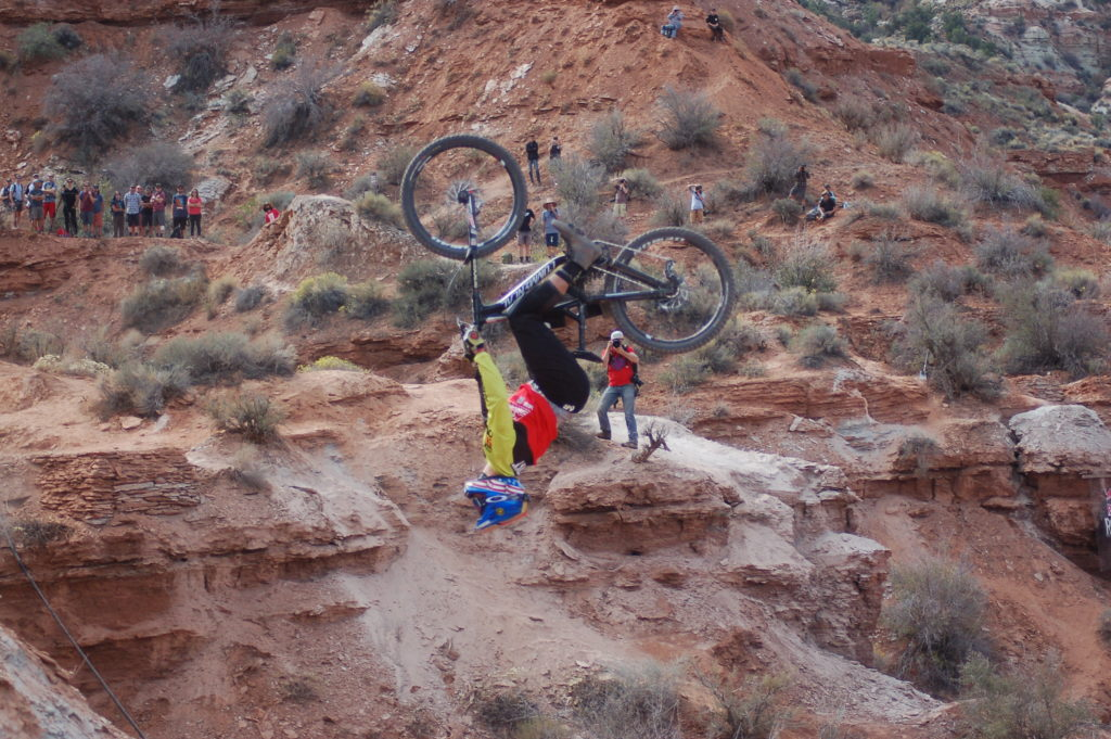 Rider Kyle Strait performs a backflip during the Red Bull Rampage competition in Virgin, Utah, Oct. 14, 2016 | All licensed images are printed with the express permission of Red Bull Media House North America, Inc. Photo by Hollie Reina, St. George News