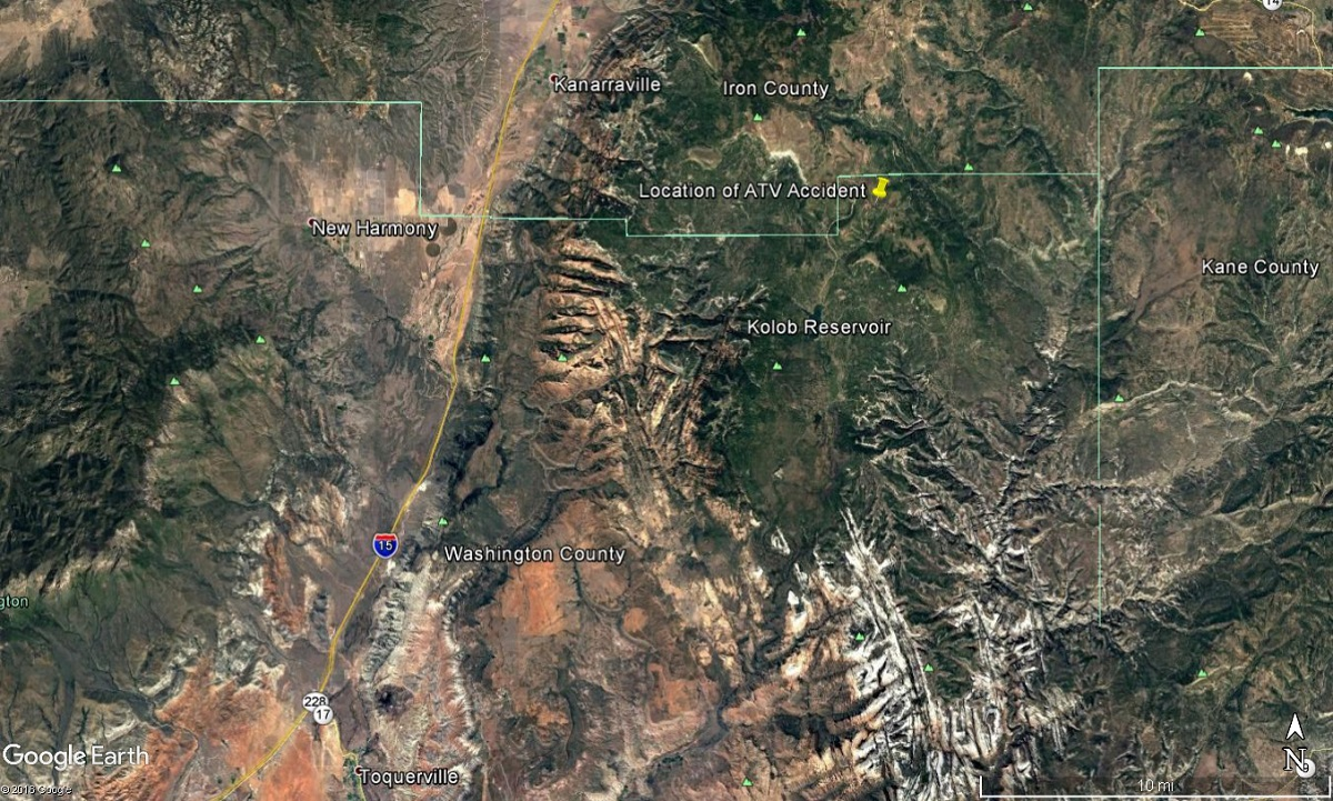 Area north of Kolob Peak where a man was killed in an ATV crash Saturday, Washington County, Utah, Oct. 22, 2016 | Image courtesy of Google Earth, St. George News
