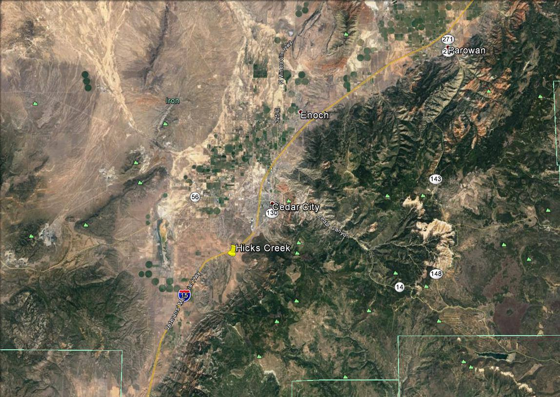 Topography map shows Hicks Creek, which Utah Fire Info has applied in a tweet identifying a widlfire  burning about 3 miles southwest of Cedar City early Monday morning. A firefighter in the region said is homes and lifestock in the Church Canyon area are being evacuated. Iron County, Utah, Oct. 17, 2016 | Photo by Tracie Sullivan, Cedar City News / St. George News