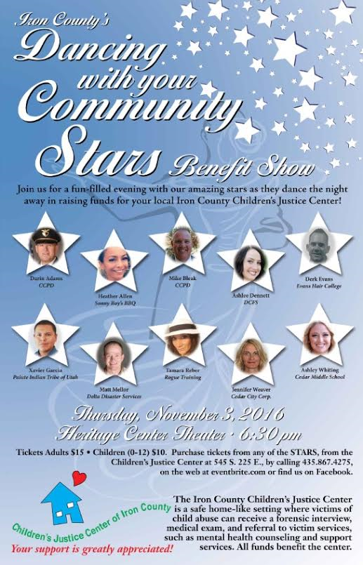 """Flyer for Iron County Children's Justice Center's """"Dancing with your Community Stars"""" benefit show, location and date not specified 
