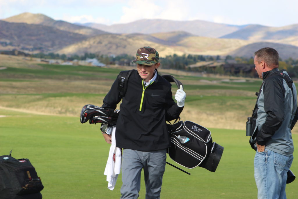 Pine View's Noah Schone during the sudden death playoff hole at the 3A State Golf Tournament at Soldier Hollow Golf Course, Midway, Utah, Oct. 6, 2016   Photo by AJ Griffin, St. George News