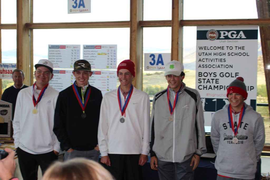 The top five golfers in the state, including Pine View's Noah Schone (second from left), at the 3A State Golf Tournament at Soldier Hollow Golf Course, Midway, Utah, Oct. 6, 2016   Photo by AJ Griffin, St. George News