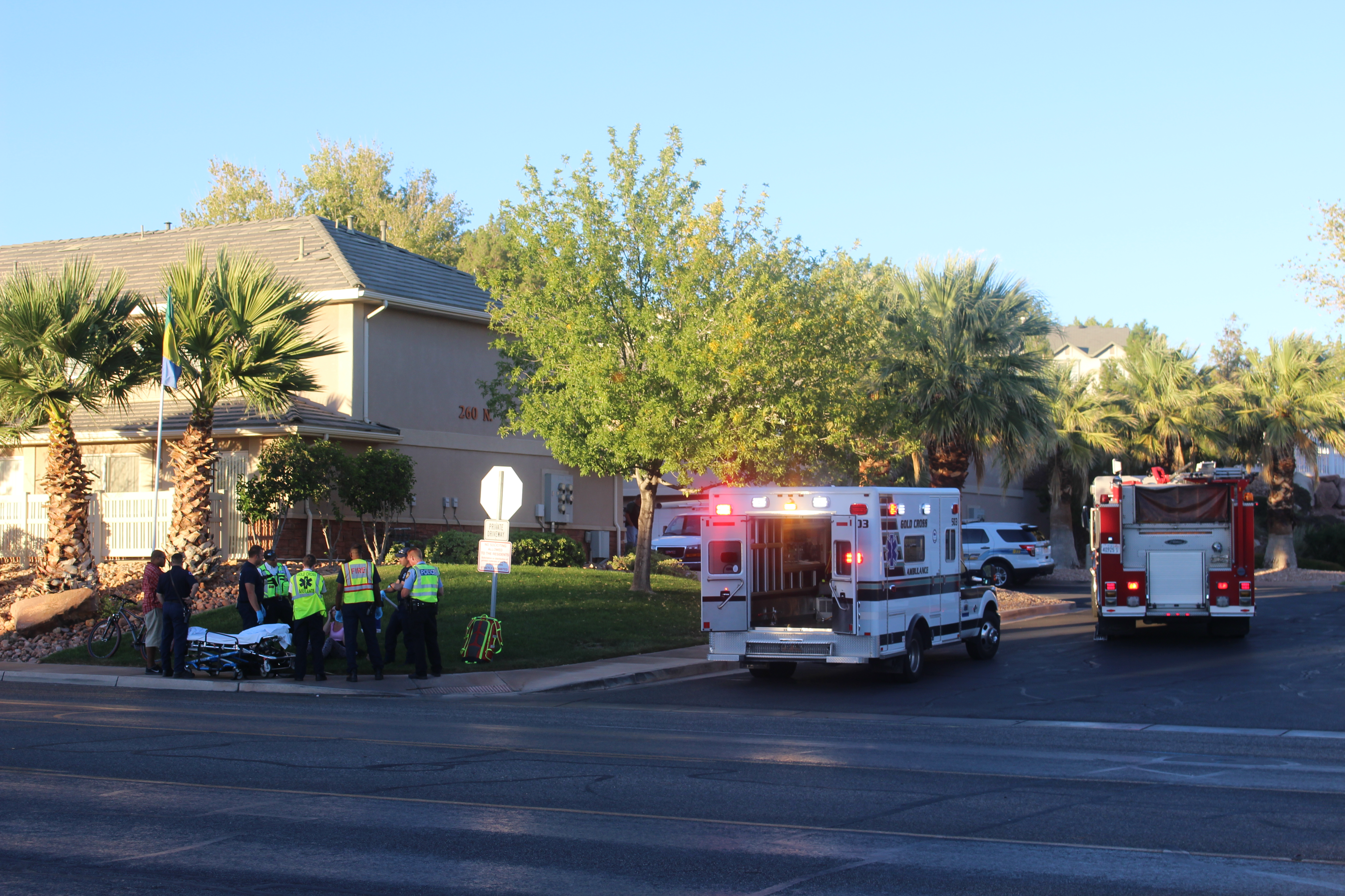 Emergency crews prepare a bicyclist who was hit by a car for transport, St. George, Utah, Oct. 16, 2016 | Photo by Joseph Witham, St. George News