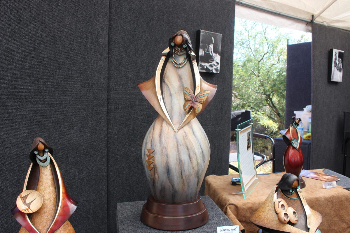Sculpture made by Kim Seyesnem Obrzut, the first Hopi Indian to ever cast in bronze, at the Art in Kayenta Festival Friday in Ivins, Utah, Oct. 7, 2016   Photo by Cody BLowers, St. George News