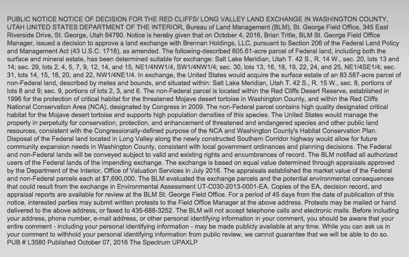 BLM public notice of decision regarding the Red Cliffs Reserve and Long Valley property land exchange, published Oct. 7, 2016