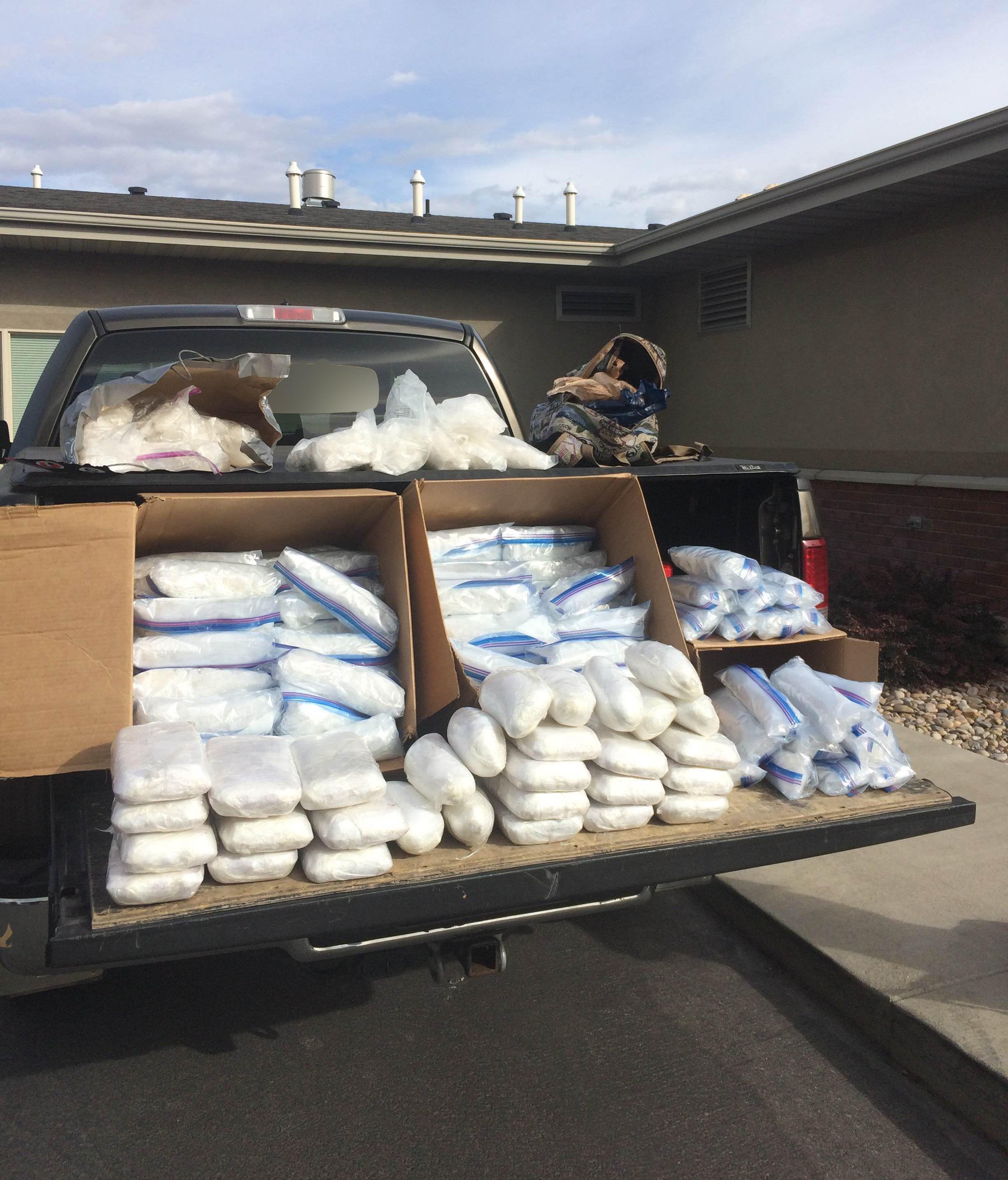 Utah Highway Patrol troopers seized 236 pounds of meth in record multimillion-dollar bust during a traffic stop in Springville, Utah, Oct. 10, 2016 | Photo courtesy of Utah Highway Patrol, St. George News