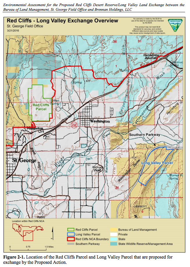 This map dated in March 2016 is included in the environmental assessment for a proposed exchange of land, specifically a privately owned parcel in the Red Cliffs Desert Reserve for land in the Long Valley area of Washington County. | Image courtesy of the Bureau of Land Management, St. George News