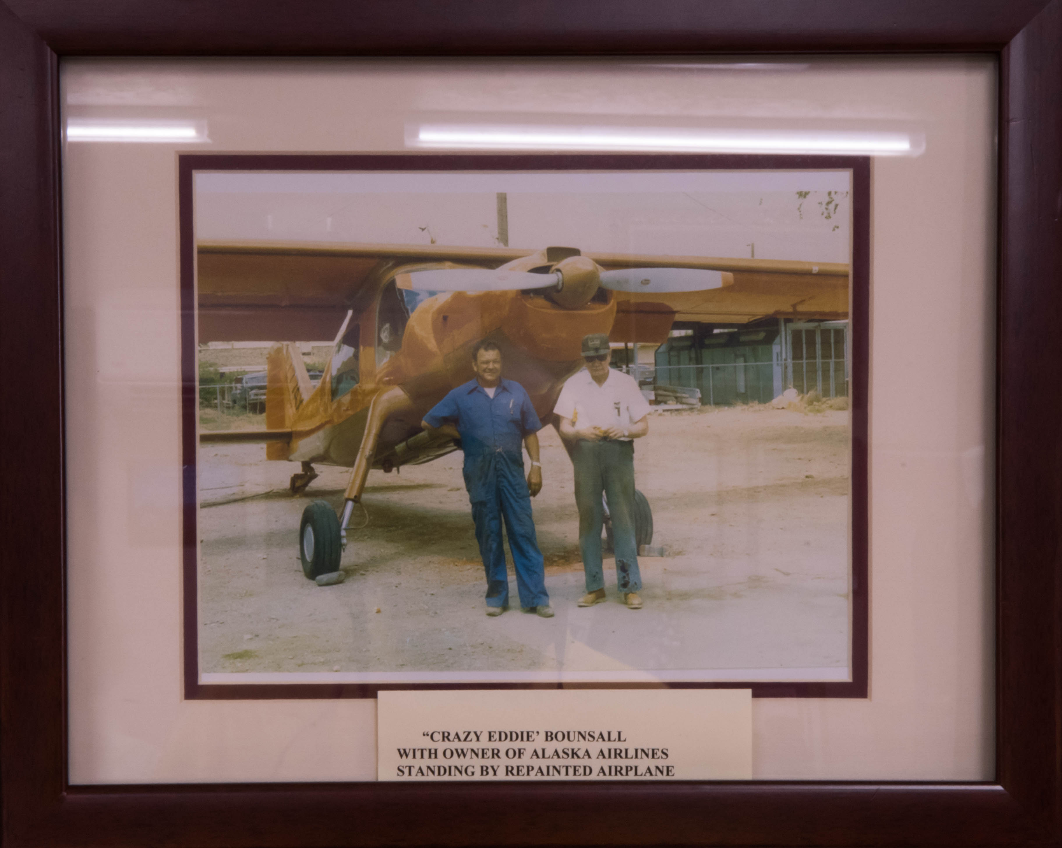 "Photo hanging in the Virgin Valley Heritage Museum shows the plane that carried the Shah of Iran to exile, now refurbished by ""Crazy"" Ed Bounsall and owner of Alaska Airlines in Mesquite, circa 1979 