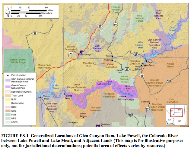 Glen Canyon Dam Long-Term Experimental and Management Plan area map included in the Oct. 7, 2016, release and executive summary | Image courtesy of the U.S. Department of the Interior St. George News