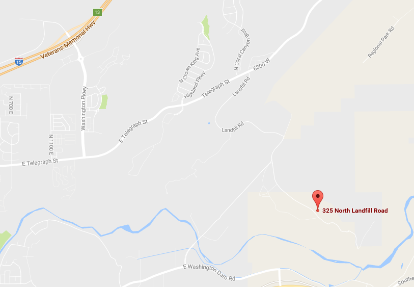 Location of Washington County Landfill | Map courtesy of Google Maps, St. George News
