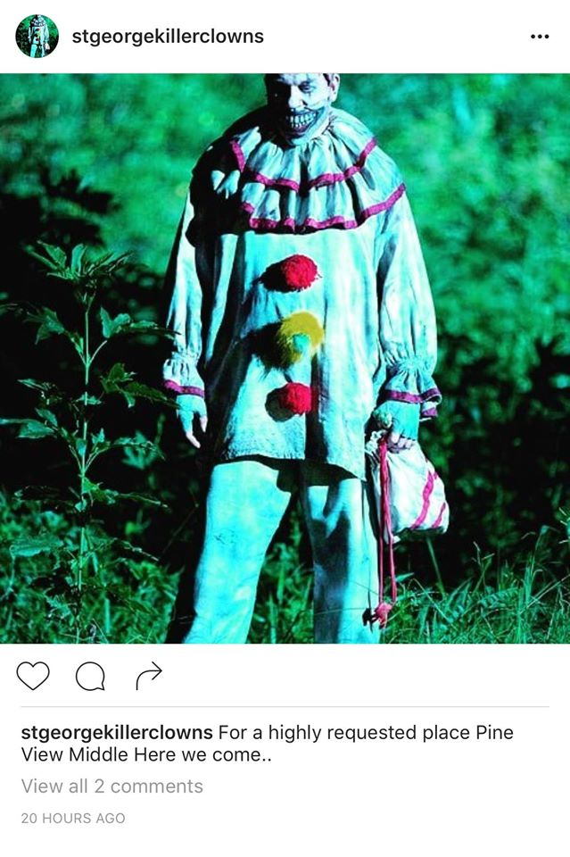 Screenshot taken Oct. 6 at 3:50 p.m. of a clown-related threat posted on Instagram by St. George Killer Clowns | St. George News