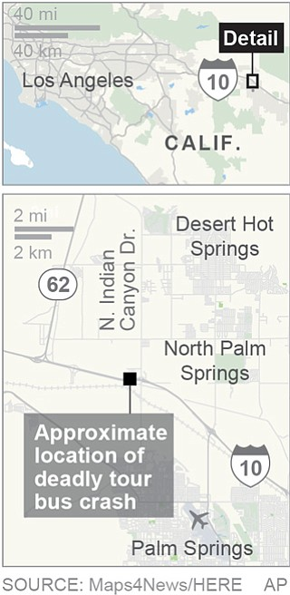 Map locates a deadly bus crash in North Palm Springs, California; 1c x 3 inches; 46.5 mm x 76 mm | AP image, St. George News
