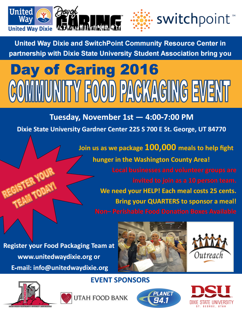 Event flier courtesy of United Way Dixie - downloadable flier for distribution is linked under resources section of the attached report