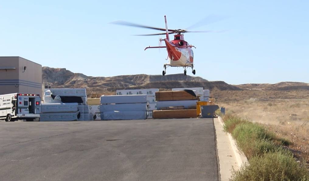 A man was transported to a hospital facility via Life Flight following an industrial accident in which witnesses said 24,000 pounds of glass had fallen on top of him at Viracon, an architectural glass production facility located at 1586 E. Venture Drive, St. George, Utah, Oct. 5, 2016 | Photo by Mike Cole, St. George News