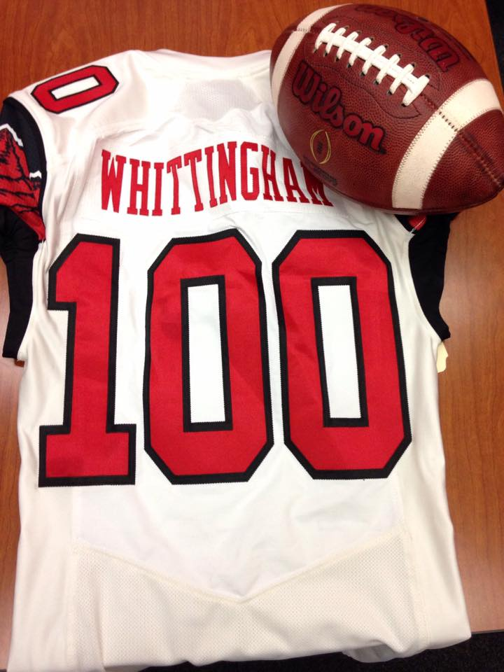 Utah honored coach Kyle Whittingham after he recorded his 100th victory as head coach Saturday night. | Photo courtesy Utah Athletics