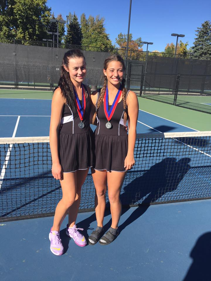 Allie Beck (L) and Alani Plumb, both juniors, placed second at state in 1st doubles. | Photo courtesy Jerry Beck