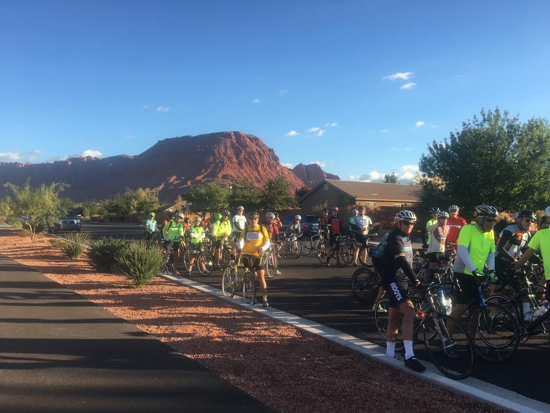 Cyclists attend the ribbon cutting ceremony for the official designation of Veyo Loop as a county bike route, Ivins, Utah, Oct. 29, 2016 | Photo by Hollie Reina, St. George News
